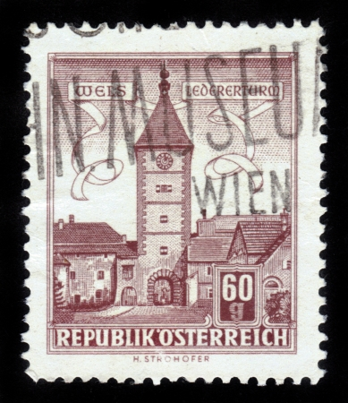 AUSTRIA - CIRCA 1960: A stamp printed in Austria,  shows Lederer Tower in Wels , Austria , circa 1960