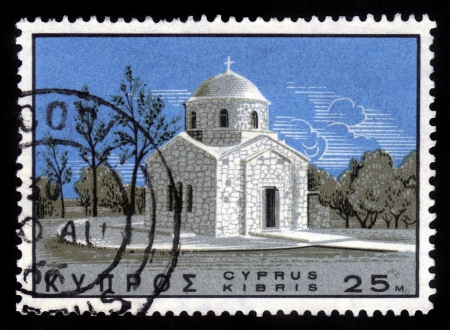 kypros: CYPRUS - CIRCA 1967  A stamp printed in Cyprus shows the Church of St  Andrew,  circa 1967