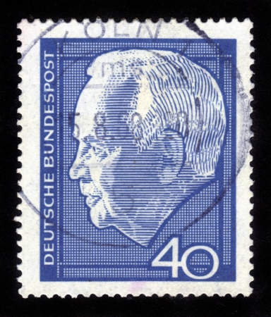 GERMANY - CIRCA 1964  a stamp printed in the Germany shows Karl Heinrich Lubke, was President of the Federal Republic of Germany 1959-1969, circa 1964 Stock Photo - 14794655