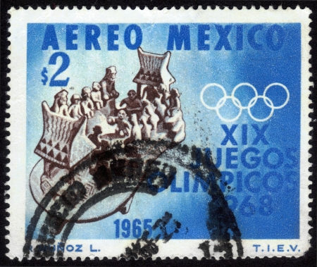 olympic sports: Mexico - CIRCA 1965  a stamp printed by Mexico shows a clay toy depicting the sports of the ancient Aztecs  devoted to Olympic Games in Mexico in 1968, circa 1965
