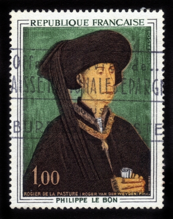 France - CIRCA 1969  A  stamp printed in France, shows Philip III the Good  Portrait of Rogier van der Weyden , was Duke of Burgundy, Count of Burgundy and Artois , circa 1969 photo