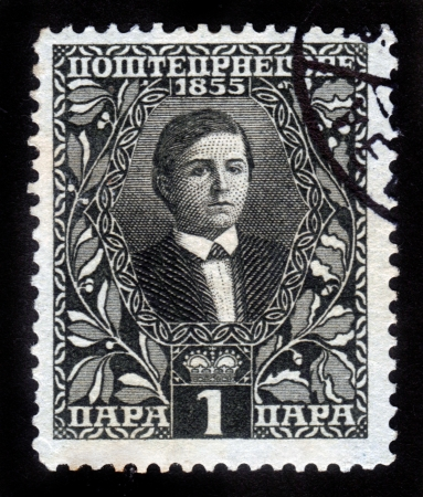 Montenegro Kingdom - CIRCA 1855  Stamp printed in Montenegro Kingdom showing the portrait of King Nicholas as a Young Man, circa 1855 Stock Photo - 14794657