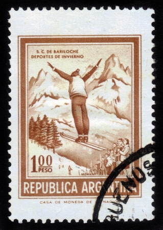 Argentina - CIRCA 1961  A stamp printed in the Argentina shows ski jumper, circa 1961 photo