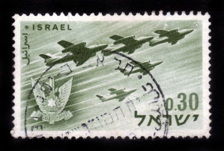 ISRAEL - CIRCA 1962  A stamp printed in Israel, shows a Israeli aircraft - bombers and military emblem - Israel s air force, Israel, series, circa 1962 Stock Photo - 14794658