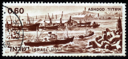 ISRAEL - CIRCA 1969  A stamp printed in Israel, shows commercial port of Ashdod in Israel, circa 1969 Stock Photo - 14794684