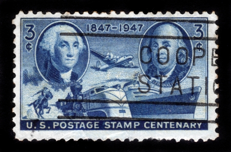 UNITED STATES - CIRCA 1947  stamp printed by United states, shows Washington and Franklin against all forms of transport , Inscription  1847-1947 US Postage Stamp Centenary  , circa 1947 Stock Photo - 14794668