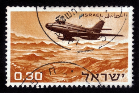 airforce: ISRAEL - CIRCA 1961: A stamp printed in Israel, shows a Israeli aircraft - fighter , circa 1961