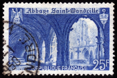 FRANCE - CIRCA 1949  A stamp printed in France shows Abbey of Saint Wandrille , circa 1949 Stock Photo - 14849083