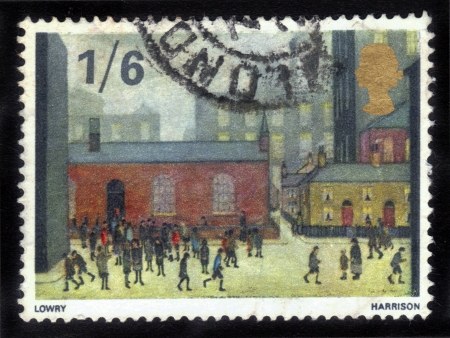 lowry: GREAT BRITAIN - CIRCA 1967  a stamp printed in the Great Britain shows Children Coming out of the School, Painting by Laurence Stephen Lowry, circa 1967