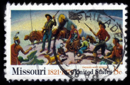 UNITED STATES OF AMERICA - CIRCA 1971  A stamp printed in USA shows picture  Independence and opening of the West , by Thomas Hart Benton, circa 1971