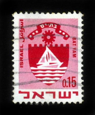 yam israel: ISRAEL - CIRCA 1960: A stamp printed in Israel, shows coat of arms of Bat Yam, Israel, series, circa 1960