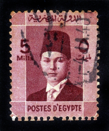 EGYPT - CIRCA 1944: A stamp printed by Egypt, shows King Farouk, circa 1944. Stock Photo - 14849128