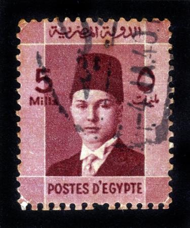 EGYPT - CIRCA 1944: A stamp printed by Egypt, shows King Farouk, circa 1944. Stock Photo - 14849128