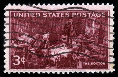 UNITED STATES - CIRCA 1947: Stamp printed by United states, shows The Doctor, by Sir Luke Fildes, circa 1947 Stock Photo - 14849137