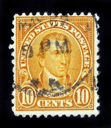 UNITED STATES OF AMERICA - CIRCA 1932: A stamp printed in the USA shows image of President James Monroe, circa 1932 Stock Photo - 14849110