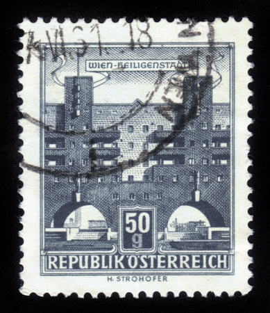 AUSTRIA - CIRCA 1962  A stamp printed in Austria shows Heiligenstadt, the 19th district of Vienna, circa 1962 Stock Photo - 14857929