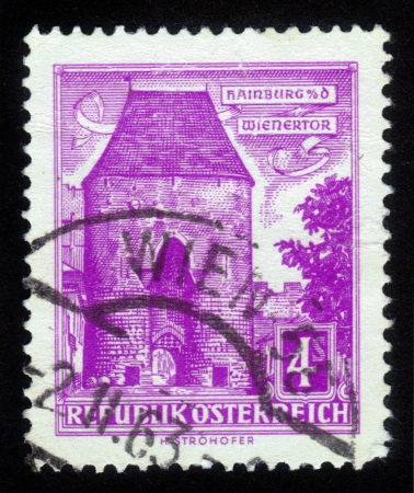 AUSTRIA - CIRCA 1960  A stamp printed in Austria shows of the Wienertor at Hainburg, circa 1960 Stock Photo - 14902456