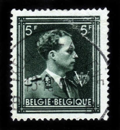 BELGIUM-CIRCA 1950 A stamp printed in BELGIUM shows image of Leopold III reigned as King of the Belgians from 1934 until 1951,circa 1950  Stock Photo - 14857970