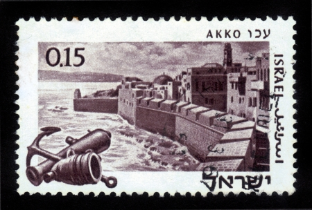 ISRAEL - CIRCA 1969  stamp printed in Israel, shows an Acre - the capital of the Kingdom of the Crusaders , circa 1969 Stock Photo - 14902458