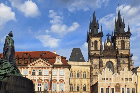 Old town square in Prague, Tyn Cathedral of the Virgin Mary and monument of Jan Hus  Czech Republic Stock Photo - 15011087