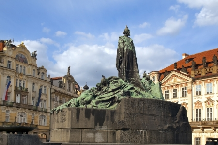Old town square in Prague monument of Jan Hus  Czech Republic, World Heritage Site by UNESCO Stock Photo