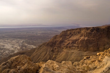 view from Masad s mountain on vicinities of the Dead Sea, Israel photo