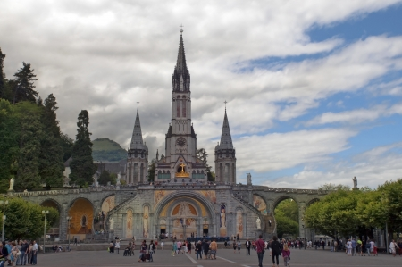 LOURDES � July 15  The Basilica of our Lady of the Rosary on July 15, 2012 in Lourdes  France   The Basilica of our Lady of the Rosary is a Roman Catholic church in the Sanctuary of Our Lady of Lourdes Stock Photo - 15004711