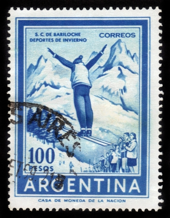 Argentina - CIRCA 1969  A stamp printed in the Argentina shows ski jumper, circa 1969