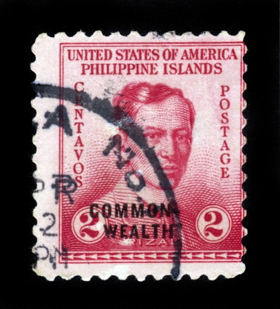 PHILIPPINES - CIRCA 1935  A stamp printed in Philippines - United States Administration shows image of Dr Jose Rizal , national hero of the Philippines, circa 1935 Stock Photo - 15004712