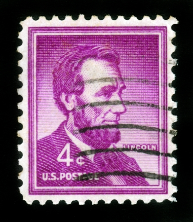 USA - CIRCA 1954  A stamp printed in USA  shows the 16th President of the United States Abraham Lincoln , circa 1954 Stock Photo - 15084059