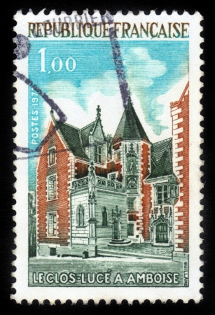 FRANCE - CIRCA 1973  A stamp printed in France shows The Clos Luce in Amboise , Loire Valley Manor house where Leonardo da Vinci lived,invited by the king of France  Francois I, circa 1973 Stock Photo - 15084064