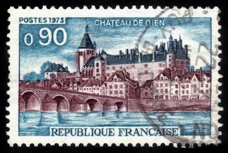 FRANCE - CIRCA 1973  a stamp printed in the France shows Gien Chateau  Castle Gen , Loiret Department, France, circa 1973