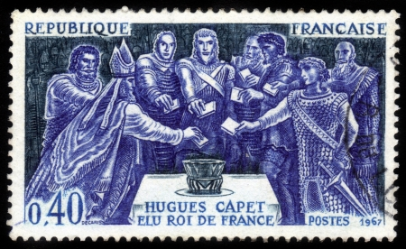France - CIRCA 1967  stamp printed by France, shows noblemen voting for the election of Hugues Capet as king of Francs , circa 1967  Editorial