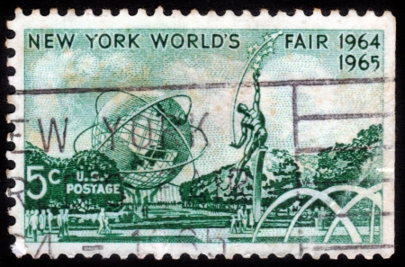 donald: UNITED STATES OF AMERICA - CIRCA 1964  a stamp printed in the United States of America shows Mall with Unisphere and rocket thrower, by Donald De Lue from New York World s fair 1964, circa 1964