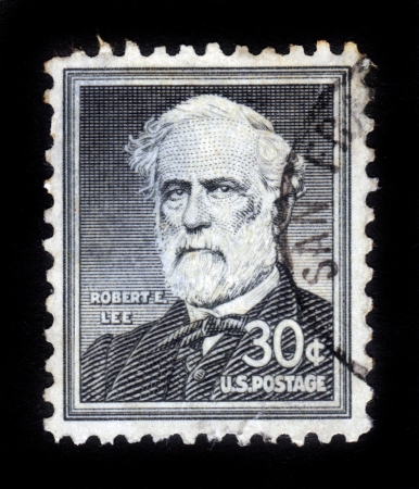 UNITED STATES OF AMERICA - CIRCA 1954  a stamp printed in the United States of America shows Portrait General Robert E  Lee, commander of the Confederate Army of Northern Virginia in the American Civil War, circa 1954 Stock Photo - 15132756