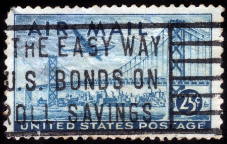 UNITED STATES OF AMERICA - CIRCA 1947  A stamp printed in the USA shows image of the Golden Gate Bridge, circa 1947