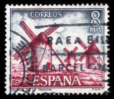 SPAIN - CIRCA 1973  A stamp printed by Spain, shows windmills of La Mancha  Spain , circa 1973 Stock Photo - 15132761