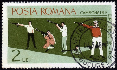 ROMANIA - CIRCA 1965  stamp printed by Romania, show European Championship by shooting in 1965 , circa 1965