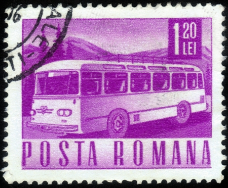 ROMANIA - CIRCA 1967: A stamp printed in Romania shows retro bus, circa 1967