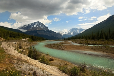 the river flowing at the foot of the Canadian Rockies , Alberta , Canada Stock Photo - 15258272
