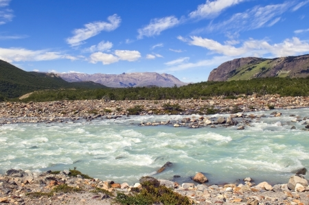 fitz: cold turbulent river at the foot of Fitz Roy, Argentina Stock Photo