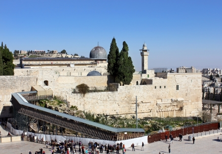 wailing wall and the bridge leading to the Temple Mount, Jerusalem, Israel Stock Photo - 15246842