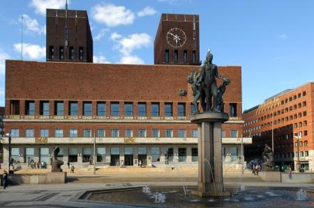 Oslo City Hall - houses the city council, city administration, and art studios and galleries , Norway Stock Photo - 15258277