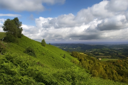 typical landscape of the French Pyrenees, green slopes before rain Stock Photo - 15258281