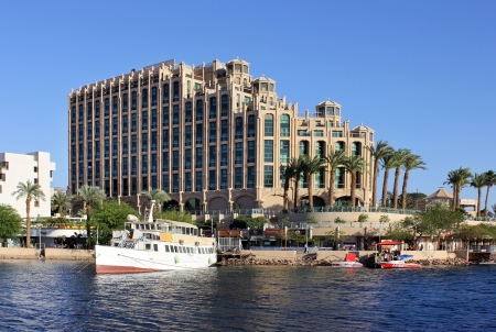 Eilat, Israel - April 14: View on Hilton Eilat Queen Of Sheba Hotel in popular resort - Eilat of Israel on April 14, 2012 Eilat, Israel Stock Photo - 15246833