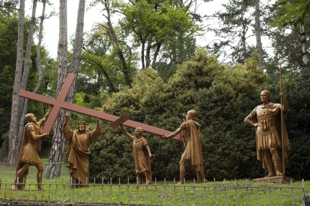 Lourdes, way of cross, station 2 Jesus receives his cross - Stations of the Cross, Lourdes, French Pyrenees Stock Photo - 15258282