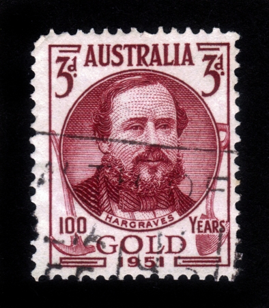 AUSTRALIA - CIRCA 1951: A stamp printed in Australia, shows Edward Hammond Hargraves, was a gold prospector , who found gold in Australia, circa 1951 Editorial