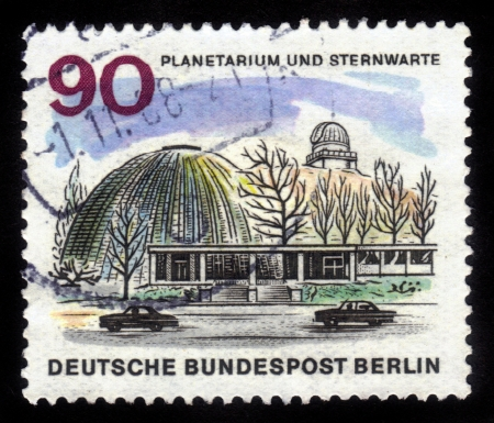 GERMANY - CIRCA 1966: A stamp printed in Germany shows image of the Berlin Planetarium and observatory, series The new Berlin ,circa 1966
