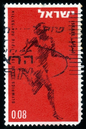 ISRAEL - CIRCA 1964: a stamp printed by Israel , shows  silhouette of the runner , issued in honor of the Tokyo Olympic Games with inscription