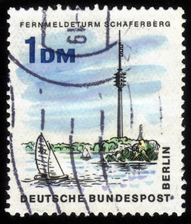 GERMANY - CIRCA 1966: A stamp printed in Germany shows image of the Telecommunications tower Schaferberg in Berlin , series The new Berlin ,circa 1966